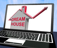 Dream House Home Laptop Means Finding Or Building Ideal Property Stock Photos