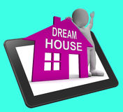 Dream House Home Tablet Shows Finding Or Designing Perfect Prope. Dream House Home Tablet Showing Finding Or Designing Perfect Property Royalty Free Stock Photo