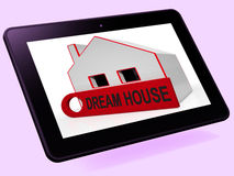 Dream House Home Tablet Shows Purchase Or Construct Perfect Prop. Dream House Home Tablet Showing Purchase Or Construct Perfect Property Stock Photos