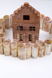 Dream house and mortgage - Euro bills - finance concept, copy s. Dream house and mortgage - Euro banknotes - private finance concept, payments and problems royalty free stock photo