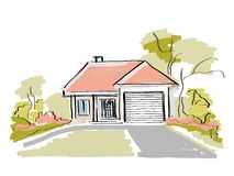 Dream house. Real estate painting Stock Photos