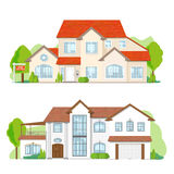 Dream House set. Flat private residential architecture, town house cottage. Building set  on white background Stock Photo