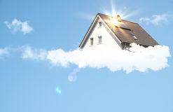Dream house with solar panel. And sun rays Royalty Free Stock Photography