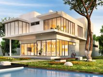 The dream house with swimming pool. The dream house with large swimming pool royalty free illustration
