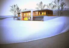 The dream house at winter. Luxury home with landscaped backyard Stock Images