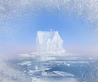 Dream ice house in nord ocean collage Stock Photos