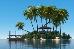 Dream island. With palm tree, wooden boat and hut Stock Images
