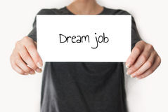 Dream job on a card Royalty Free Stock Image