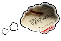 Dream Job Concept. Thought bubbles surround a diploma to represent the dream job Royalty Free Stock Photos