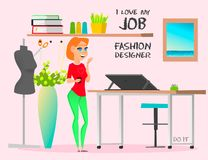 Dream job fashion designer. Do it. Dream job. The illustration shows the work of a fashion designer, which has always dreamed of people. Modern fashion designer Royalty Free Stock Images