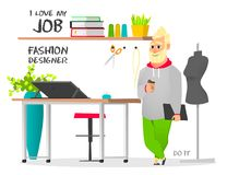Dream job fashion designer. Do it. Dream job. The illustration shows the work of a fashion designer, which has always dreamed of people. Modern fashion designer royalty free illustration