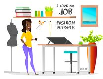 Dream job fashion designer. Do it. Dream job. The illustration shows the work of a fashion designer, which has always dreamed of people. Modern fashion designer Royalty Free Stock Image