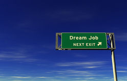 Dream Job - Freeway Exit Sign Stock Photo