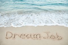Dream Job Written On Sand By Sea Royalty Free Stock Photography