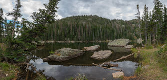 Dream Lake Pano in Colorado. Beautiful lake in Rocky Mountains National Park, Colorado Stock Photos