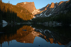 Dream Lake Reflection 2. Sunrise reflection at Dream Lake, Rocky Mountain National Park, Colorado Royalty Free Stock Photos