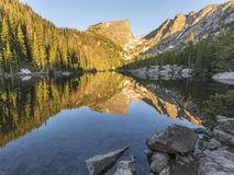 Dream Lake Reflections. Morning Sun on Hallett Peak is reflected in Dream Lake in Rocky Mountain National Park, Colorado Stock Photo