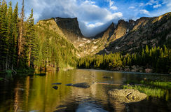 Dream Lake in Rocky Mountains National Park. Magical sunrise at Dream Lake in Rocky Mountains National Park Royalty Free Stock Image