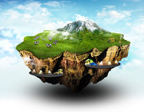 Dream land. Earth flake with human life on it Stock Image