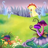 Dream Land Scenery Children Book Illustration. For any purpose such as book cover and illustration, home decoration, wallpaper, print on post card, canvas Stock Illustration
