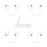 Dream lettering with funny faces Royalty Free Stock Image