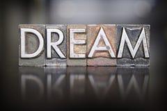 Dream Letterpress. The word DREAM written in vintage letterpress type royalty free stock photo