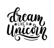 Dream like a Unicorn Vector poster with decor elements. Unicorn vector illustration