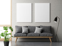 Dream living room, minimalism concept with mock up posters on concrete wall. 3d illustration Royalty Free Stock Images