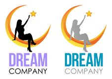 Dream Logo Design. Vector Template sleep sign. Girl sitting on the moon and reaching up for star.  Night icon Design Template royalty free illustration