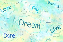 Dream, love, believe, dare positive thinking concept Royalty Free Stock Images