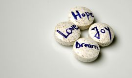 Dream, love, hope and joy concept. Pills as emotions on a white background. to have dreams , joy, hope and love stock photos