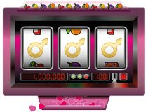 Dream Lover Ideal Man Gamble Slot Machine. Dream lover win with slot machine - symbol for having good fortune to find the ideal man - slot machine jackpot with royalty free illustration