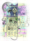 Dream Machine. Composing of a handdrawn pencil-picture and an abstracted photo of an old abandoned machine Royalty Free Stock Images