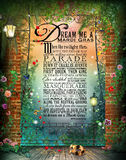 Dream Me A Mardi Gras Background Poster. Original Poem by Laura Kuhn Dream Me A Mardi Gras on digital background of French Quarter, New Orleans balcony complete Stock Photos