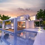 Dream modern house. 3D rendering of a magnificent modern house with pool vector illustration