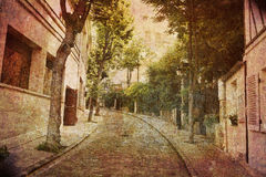 Dream of Montmartre. Like an old Japanese print. Several of my photos worked together to make a dreamlike retro look. Alley Montmartre, Paris Stock Photos