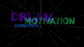 Dream, Motivation, Aspiration as Concept Words. An impressive 3d rendering of such concept words as dream, motivation and aspiration. They are green, blue and Royalty Free Stock Photos