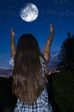 The dream of the night. Starry sky and dream of the night stock images