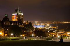 Dream night at Quebec city stock photography