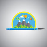 Dream painting brush vector icon in flat design format with rain vector illustration