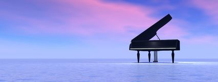 Dream of piano. Piano standing alone in the nature by pink and blue sunset byckbround Royalty Free Stock Photos