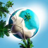 Dream planet with coconut trees and sandy beach Royalty Free Stock Images