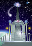 Dream Port. Floating high above a planet, a doorway and arch lead to stairs going up to swirling light in space with starry sky Stock Photos