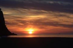 Dream. Red sun all horizon on the sea landscape Stock Photography