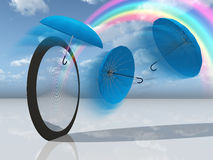 Dream scene with blue umbrellas and rainbow Royalty Free Stock Photography