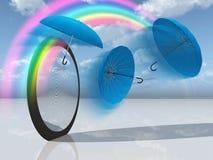 Dream scene with blue umbrellas Stock Images