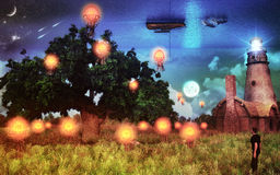 Dream Scenery. A unique illustration. Floating lanterns, shooting stars, lighthouse showing the way to the boat sailing in the ocean of sky and of course Royalty Free Stock Photos