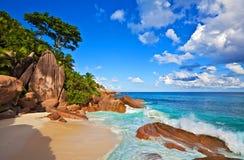 Dream Seascape View. Dream beach with a big stones, Seychelles, La Digue island Stock Photography