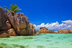 Dream seascape view. With a big stones and palmtree, Seychelles, La Digue island Royalty Free Stock Image
