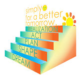 Dream Shape Plan For a Better Tomorrow. Dream, shape, plan, act, realization- simply for a better tomorrow Royalty Free Stock Photos